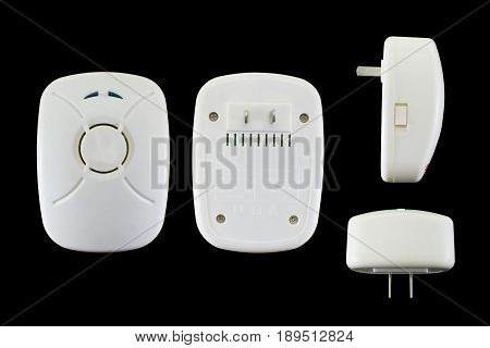The machine emits sound frequencies eliminates mice cockroaches and mosquitoes. Have a clipping path.