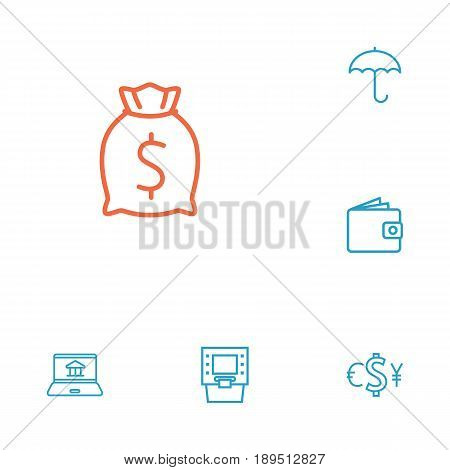 Set Of 6 Finance Outline Icons Set.Collection Of Atm, Wallet, Moneybag And Other Elements.