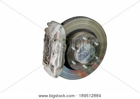 Car brake disc without wheels closeup with repair. clipping path.