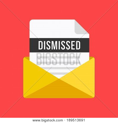 Envelope with dismissal letter. Email and document with dismissed title. Modern flat design vector illustration