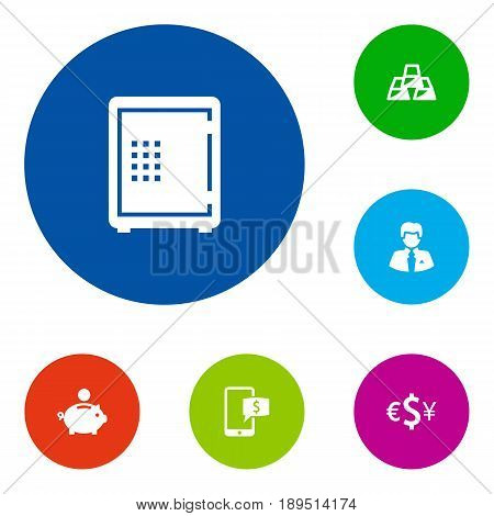 Set Of 6 Finance Icons Set.Collection Of Strongbox, Currency, Piggy Bank And Other Elements.