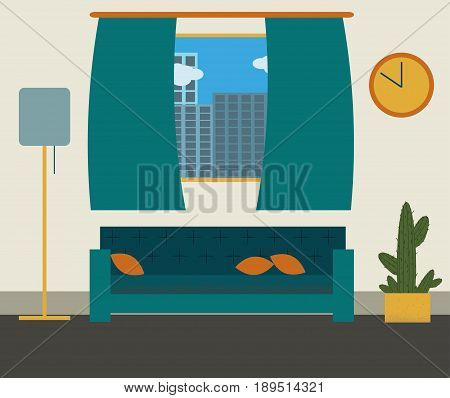 Modern stylish living room flat design. Living room vector illustration.