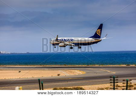 Arecife, Spain - April, 15 2017: Boeing 737-800 Of Ryanair With The Registration Ei-enp Landing At L