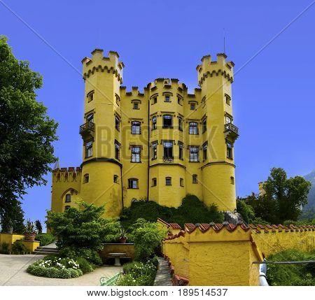 Castle Hohenschwangau in the town of Schwangau Germany.