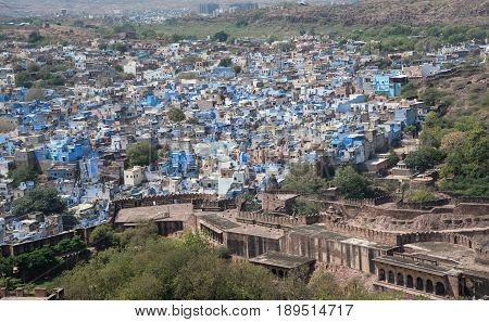 Cityscape of Jodhbur the India blue city at the state of Rajasthan seen from Mehrangarh Fort. The town is also known as the Sun city