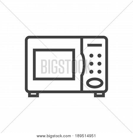 Isolted Electronic Oven Outline Symbol On Clean Background. Vector Microwave  Element In Trendy Style.