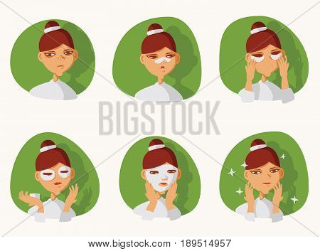 Lovely brunette girl taking care of her skin on face. Patches under eyes and on nose preventing blackheads and dark circles under eyes fabric mask for skin glow. Before and after vector illustration.