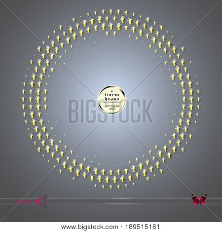 Vector Round Frame. Abstract Half Tone Graphic Element Pattern Background.