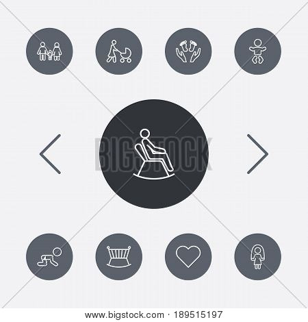 Set Of 9 Relatives Outline Icons Set.Collection Of Crawling Kid, Crib, Care And Other Elements.