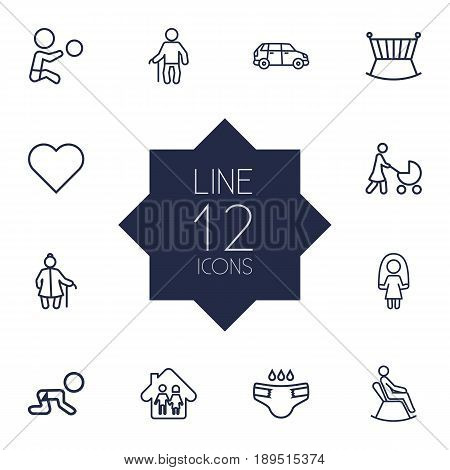Set Of 12 People Outline Icons Set.Collection Of Skipping Rope, Crawling Kid, Grangmother And Other Elements.