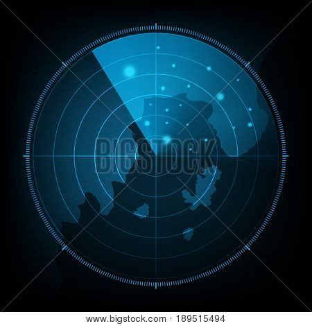 Technology Digital Future Abstract Radar Screen Map Background