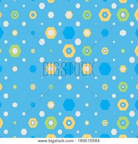 Abstract geometric blue background with hexagons of different colors and size.