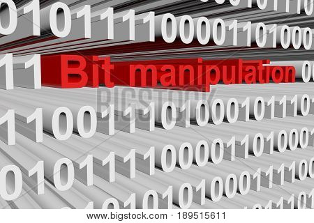 Bit manipulation in the form of binary code, 3D illustration
