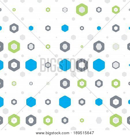 Abstract geometric white background with hexagons of different colors and size.