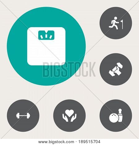 Set Of 6 Training Icons Set.Collection Of Heart In Hand, Dumbbell, Running Elements.