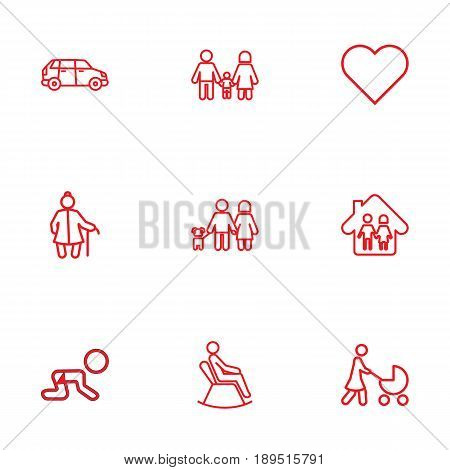 Set Of 9 Relatives Outline Icons Set.Collection Of Crawling Kid, Family, Grangmother And Other Elements.