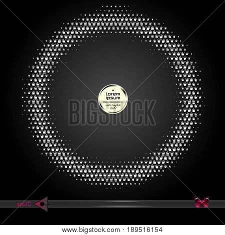 Crown Vector Round Frame. Abstract Half Tone Graphic Element Pattern Background.
