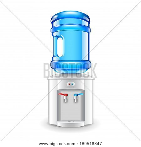 Office water cooler isolated on white photo-realistic vector illustration