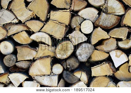 Winter stock stacked cleaved wood of near