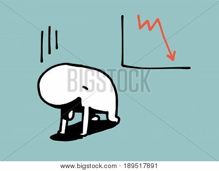 Simple Man Disappoint In Fall Graph, Business Concept, Vector Illustration.