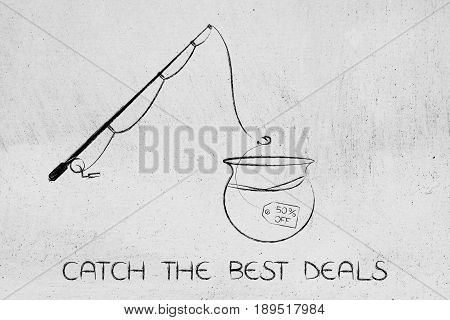 Fishing Rod About To Catch A Price Tag With Sale Promotion In A Bowl