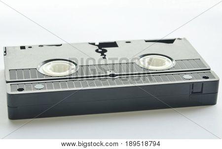 black video tape recorder on white background