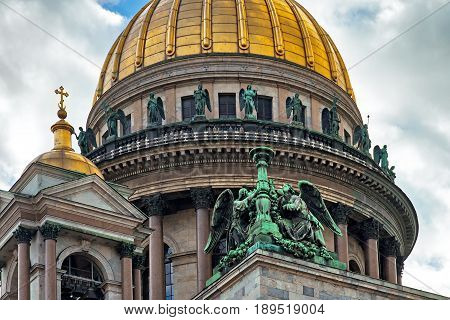 Gold dome orthodox of St. Isaac's Cathedral in Saint-Petersburg,