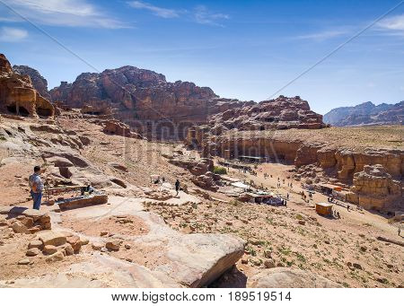 Petra Jordan - 9 March 2017: Landscape of Petra Valley the capital city of the Nabataeans Petra Jordan 9 March 2017