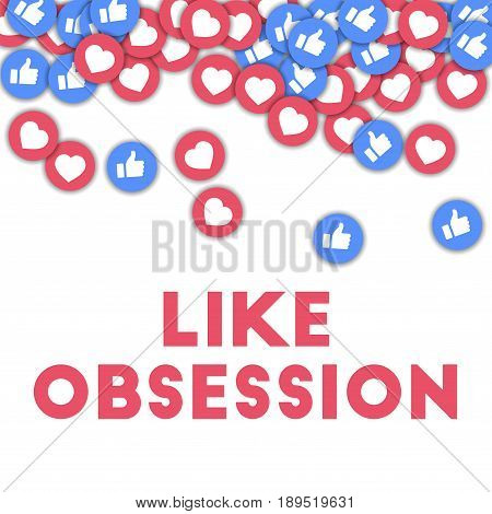 Like Obsession. Social Media Icons In Abstract Shape Background With Scattered Thumbs Up And Hearts.