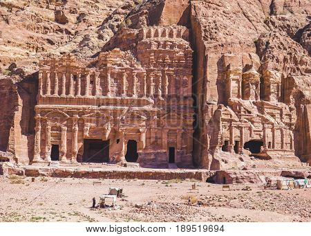Petra Jordan - 9 March 2017: The Corinthian tomb and the Palace tomb which are part the Royal Tombs Petra Jordan 9 March 2017
