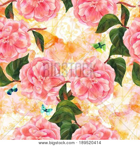 A seamless pattern with a watercolor drawing of a delicate pink camellia flower in bloom, with teal and green butterflies, on a golden yellow background with abstract branches