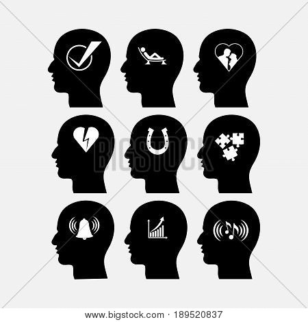 icons man's thoughts desires relaxation dreams fully editable vector image