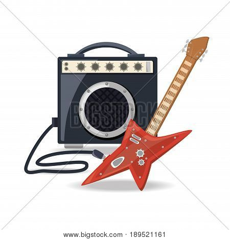 electric guitar with amplifier speaker music vector illustration