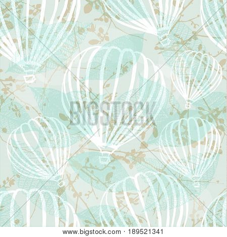A freehand retro style seamless pattern with hot air balloons, branches, and leaves. Abstract vector background
