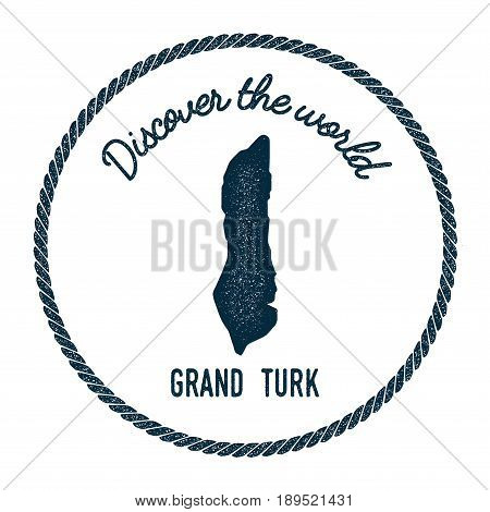 Grand Turk Island Map In Vintage Discover The World Insignia. Hipster Style Nautical Postage Stamp,
