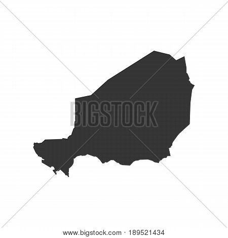 Niger map silhouette on the white background. Vector illustration