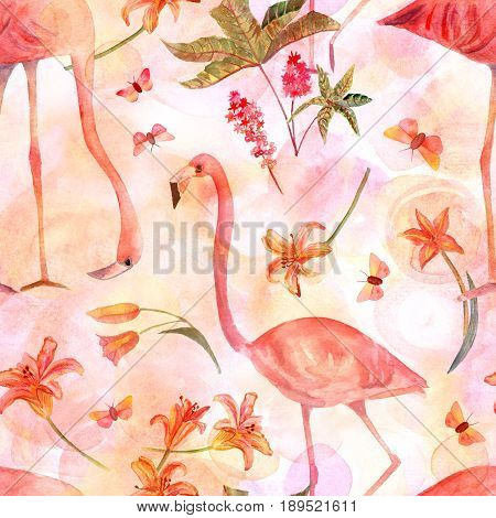 A seamless background pattern with vintage style watercolor drawings of flamingo birds, ricinus flowers, lilies and butterflies, on a pastel pink texture