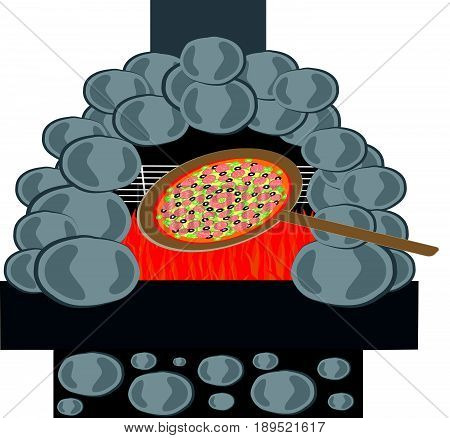 Pizza with stone furnace isolated on white backgroun. Food and cookingg.. Vector illustration.