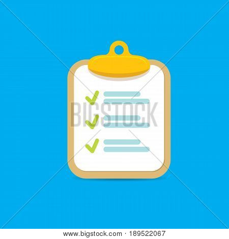 vector Clipboard icon with green checkmarks on blue background. Checklist vector flat style symbol
