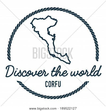 Corfu Map Outline. Vintage Discover The World Rubber Stamp With Island Map. Hipster Style Nautical I