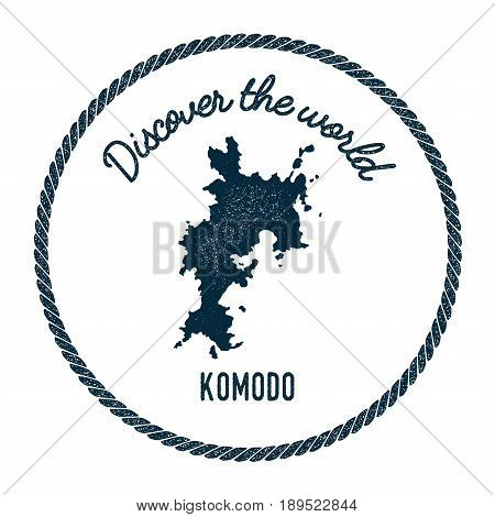Komodo Map In Vintage Discover The World Insignia. Hipster Style Nautical Postage Stamp, With Round