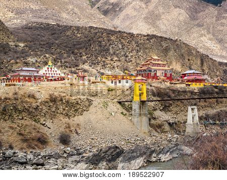 View of tibetan style buddhist monastery in Sichuan China
