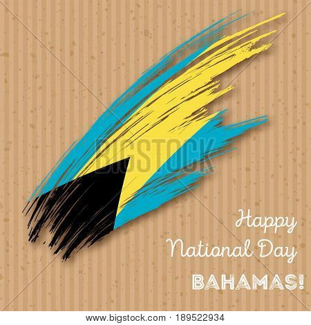 Bahamas Independence Day Patriotic Design. Expressive Brush Stroke In National Flag Colors On Kraft