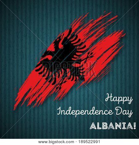 Albania Independence Day Patriotic Design. Expressive Brush Stroke In National Flag Colors On Dark S