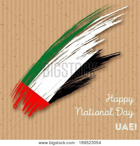 Uae Independence Day Patriotic Design. Expressive Brush Stroke In National Flag Colors On Kraft Pape