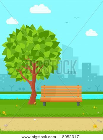 cozy park in city with tree, wooden brench, city town and nature landscape