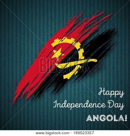Angola Independence Day Patriotic Design. Expressive Brush Stroke In National Flag Colors On Dark St
