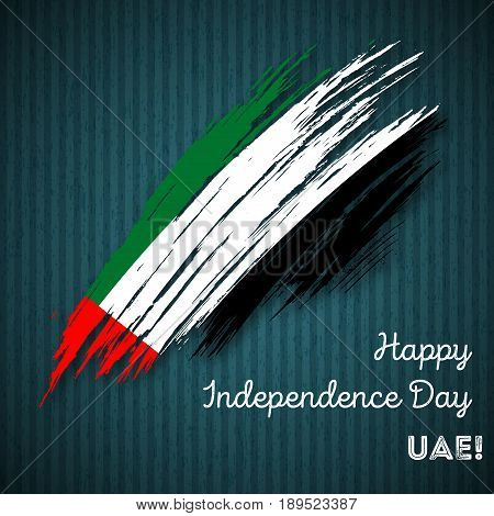 Uae Independence Day Patriotic Design. Expressive Brush Stroke In National Flag Colors On Dark Strip