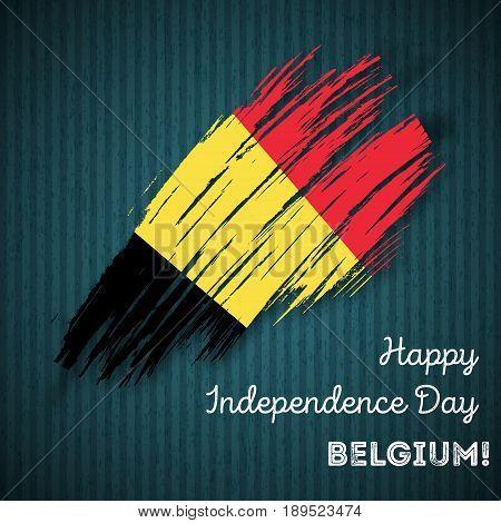 Belgium Independence Day Patriotic Design. Expressive Brush Stroke In National Flag Colors On Dark S
