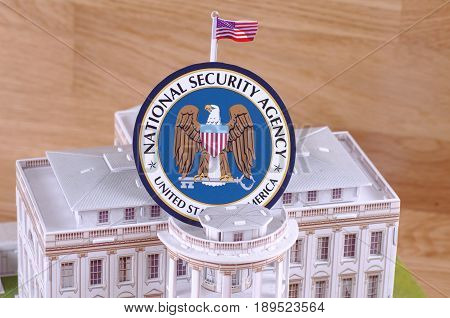 SARANSK, RUSSIA - MAY 24, 2017: White House model with seal of National Security Agency.